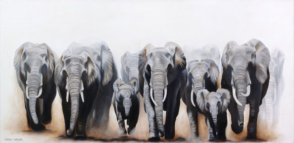 Walking off the Canvas - African Elephants 1.8m x 0.88m SOLD