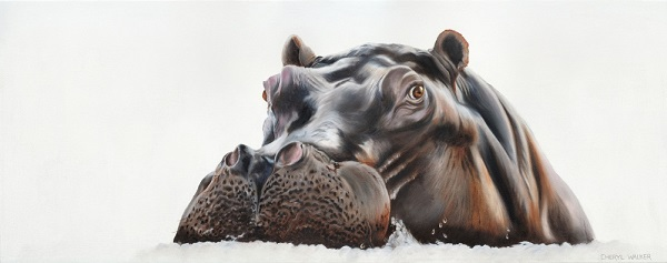 Henrietta Hippo - Hippo - beautiful but extremely dangerous! Painted from Photo courtesy of B Bromfield.